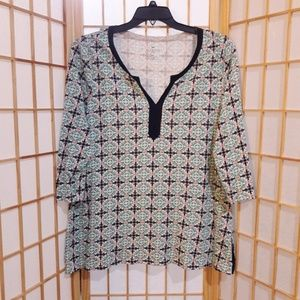 Talbots Geometric Print Vented Sides Blouse Top